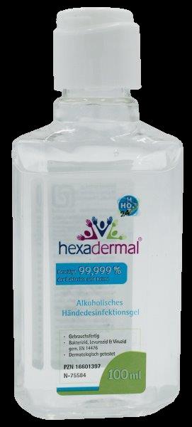 alkoholisches Händedesinfektionsgel Hexadermal 100ml (Kittelflasche)